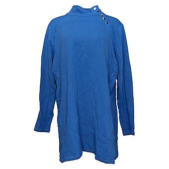 Susan Graver Donna Top Plus Cotone Modal Francese Terry Tunic Blu A367756