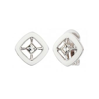 Traveller Clip Earrings With Crystal From Swarovski Rhodium Plated White - 157253 - 625