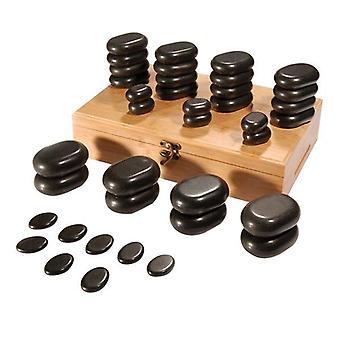 Conjunto de pedra de massagem DEO com caixa de armazenamento - Tamanhos Variados - 36 Peças
