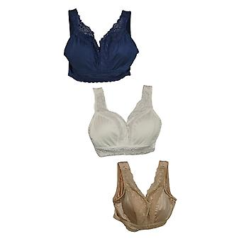 Rhonda Shear With Lace Detail Pack Of 3 Bra Blue 667761