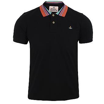 Vivienne westwood men's black stripe collar polo shirt
