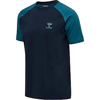 Hummel hmlACTION Cotton T-Shirt, Dark Sapphire/Coral Blue, S Unisex-Adult