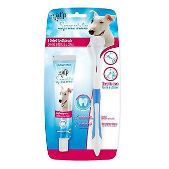 Dog 3 Sided Toothbrush Toothpaste Teeth Cleaning Brush Kit Sparkle