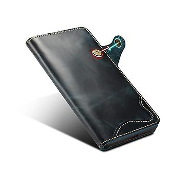 Genuine leather wallet case card slot for iphone11pro max blue pc4737