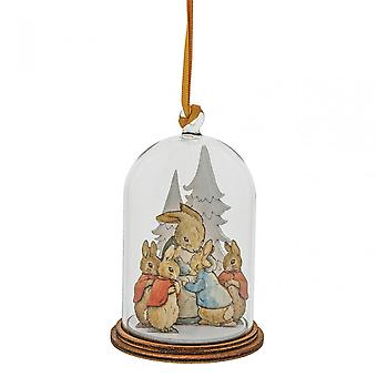 Beatrix Potter Peter Rabbit & Family At Christmas Wooden Hanging Ornament