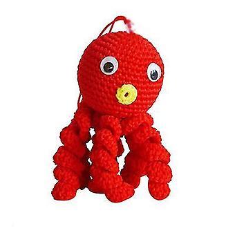 Punainen pää luova villa nukkecrocheted mustekala x4711