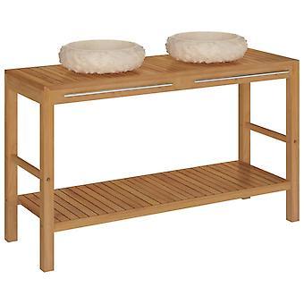 vidaXL Lavabo de madera maciza de teca con crema de mármol fregadero