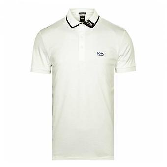 Boss Green Hugo Boss Paule 1 Collar Logo Short Sleeve Polo White 100 50448603