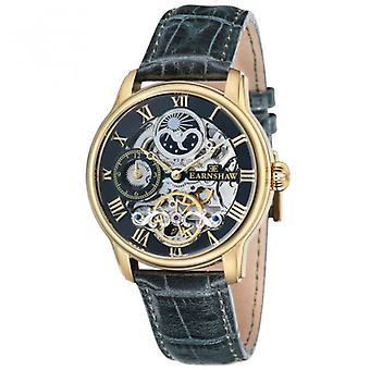Thomas Earnshaw Es-8006-09 Longitude Gold & Green Leather Mens Automatic Skeleton Watch