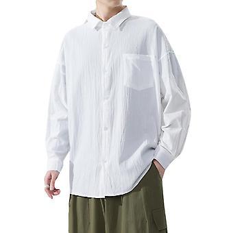 Yunyun hombres's color sólido suelto camisa de algodón botón de manga larga suelta