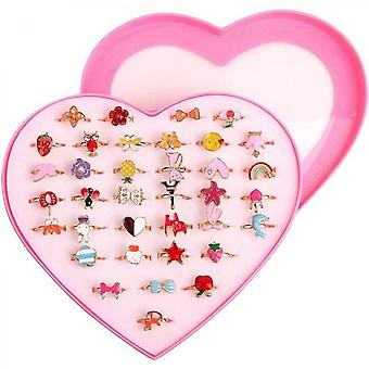 36 Pcs Little Girl Adjustable Rings In Box, No Duplication