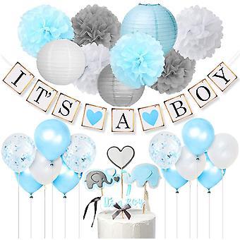 Babyparty Deko Junge - It's A Boy GirlandeElefant Kuchendeckel Blau und GreyKonfetti
