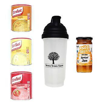 Seven Trees Farm Slimfast (Caramel 292g, Banana 292g, Strawberry 292g), STF Shaker, Skinny Apricot Jam 260g SANS TVA