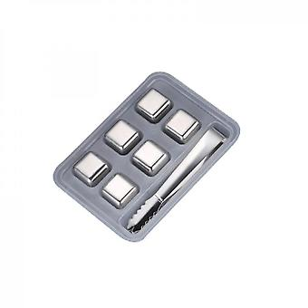 Stainless Steel Chilling Cubes Reusable Ice Cube Whiskey Stones(6PCS)