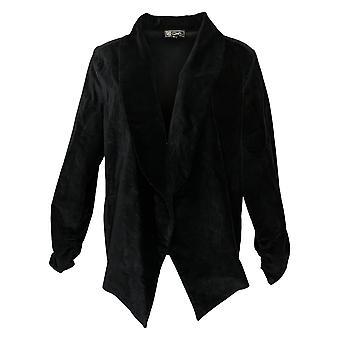 DG2 von Diane Gilman Damen Blazer Stretch Velvet Open-Front Black 680567