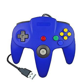 USB السلكية N64 تحكم لوحة تحكم جويستيك جويباد لوحة الألعاب لألعاب 64 لوحات المفاتيح الكلاسيكية (الأزرق)