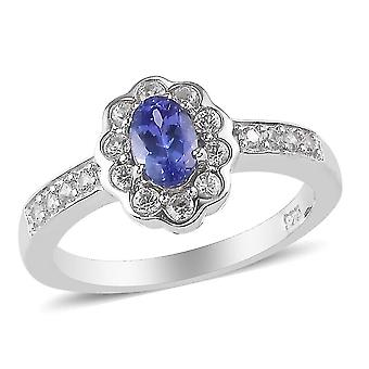TJC Tanzanite and White Zircon Floral Ring for Women in Silver, 0.97ct(S)