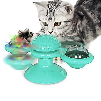 Cat Windmill Pet Tickle Toy Cat Scratch Hairbrush With Suction Cup Base
