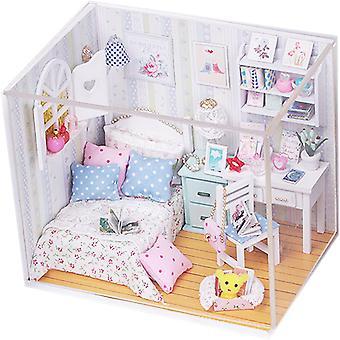 Hölzerne Puppenhaus Miniaturen Diy Haus Kit mit Abdeckung und LED Licht-Freizeit Leseraum