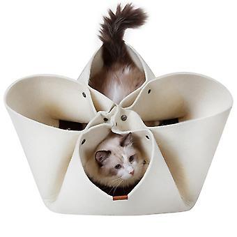 Kreatív Macska alom Virágszirm alom Eredeti Design Four Seasons Kisállat Macska szőnyeg macskaágy, Macska alagút módosítható funkció (bézs) -