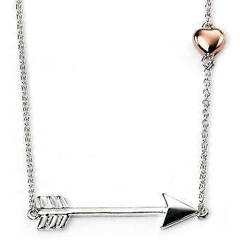 925 Silber vergoldet, Rhodium Pfeil & Gold Rose Plaed Herz Halskette Trend