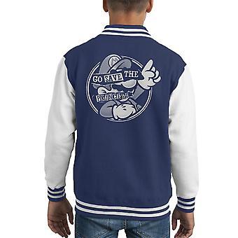 Mario Pistols God Save The Princess Kid's Varsity Jacket