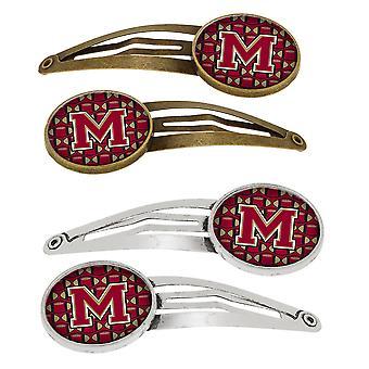 Letter M voetbal granaat en Gold Set van 4 haarspeldjes Hair Clips