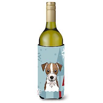 Winter Holiday Jack-Russell-Terrier Weinflasche Getränk Isolator Hugger