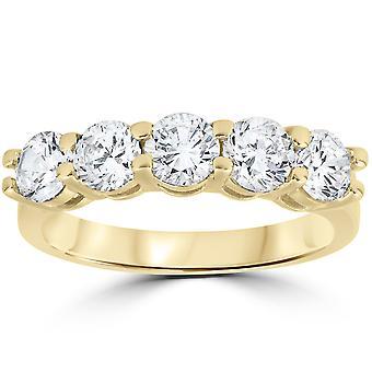 2 ct Diamond Five Stone Wedding Anniversary Round Cut Ring 14k Yellow Gold