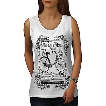 Gamle skolen sykkel Vintage kvinner WhiteTank toppen | Wellcoda