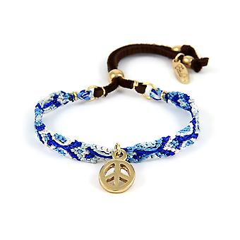 Ettika - Peace and Love Bracelet and Blue Braided Cotton 3116