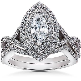 2 3/8 ct Marquise Diamond fidanzamento Halo doppio Set 14k White Gold Ring