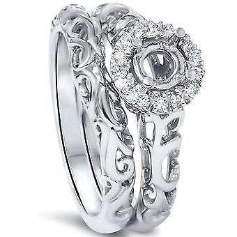 1 / 10ct круглый Алмазный Halo старинный обручальное кольцо горы набор платина 950
