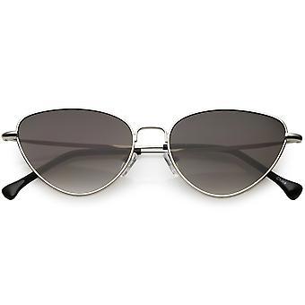 Женщин тонкие металлические Cat глаз очки нейтрального цвета плоский объектив 54 мм