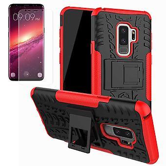 Caso do híbrido saco vermelho 2 peças para Samsung Galaxy S9 plus G965F + TPU tanque protector