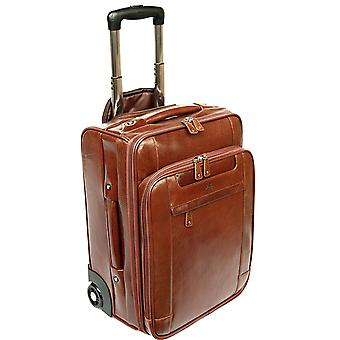Leather Laptop Cabin Size Wheeled Hand Luggage Business Trolley Case Flight Bag