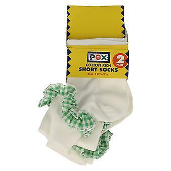 Girls PEX Cotton Rich Short Socks with Gingham Trim