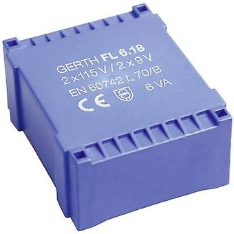 PCB mount transformer 2 x 115 V 2 x 9 V AC 6 VA 333 mA FL6.18 Gerth