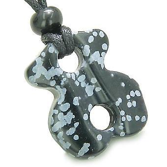 Infini pouvoirs magiques noeud celtique charme Evil Eye Protection amulette Snowflake Obsidian collier
