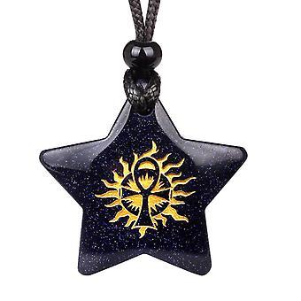 Magiske Super Star Ankh sol livet krefter Amulet blå Goldstone Lucky Charm anheng halskjede