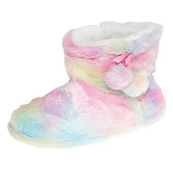 Slumberzzz Womens/Ladies Rainbow Pom-Pom Slipper Boots