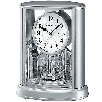 Table clock quartz clock with rotating pendulum rhythm housing silver 24 x 20 cm