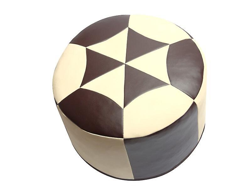 Coussin coussin pouf Oriental autour de faux cuir dark brown/champagne, largeur 50 cm, hauteur 34 cm