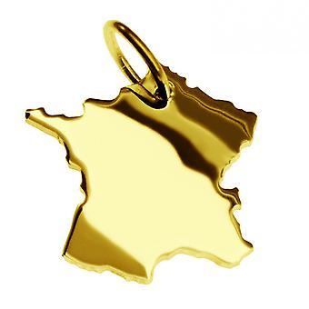 Släpvagn karta hängsmycken i guld gul-guld i form av Frankrike
