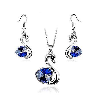 Crystal Love Heart In dunklen blauen Schwan Schmuck Set Ohrringe und passende Halskette Silber