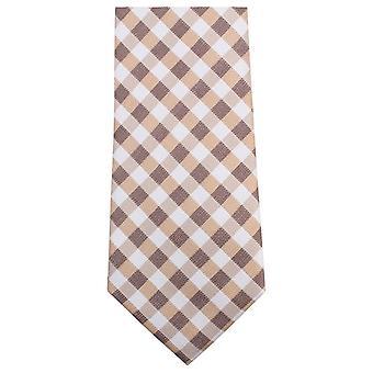 Knightsbridge Krawatten überprüft Krawatte - braun/weiß