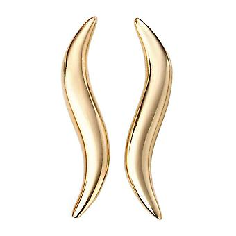 Elements Gold Curved Climber Earrings - Gold
