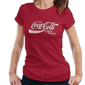 Coca Cola echt Text Frauen T-Shirt weiß