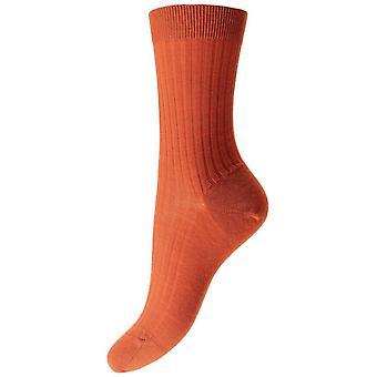 Pantherella Rose Rib Merino Wool Socks - Burnt Orange