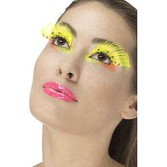 80 's Polka Dot wimpers, Neon geel, bevat lijm